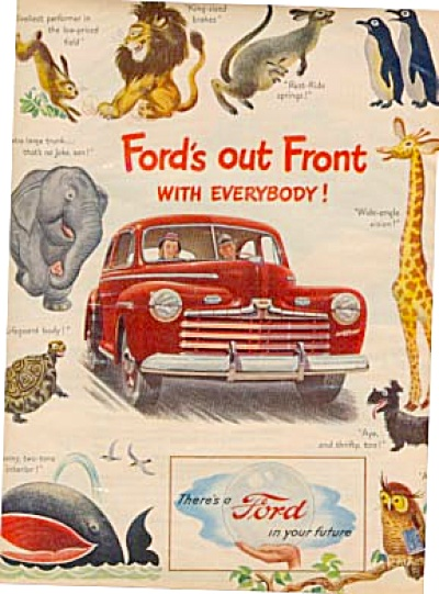 1946 FORD CAR Red Animal Ad (Image1)