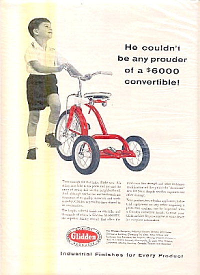 1956 Boy Red Tricycle Glidden Products Ad (Image1)