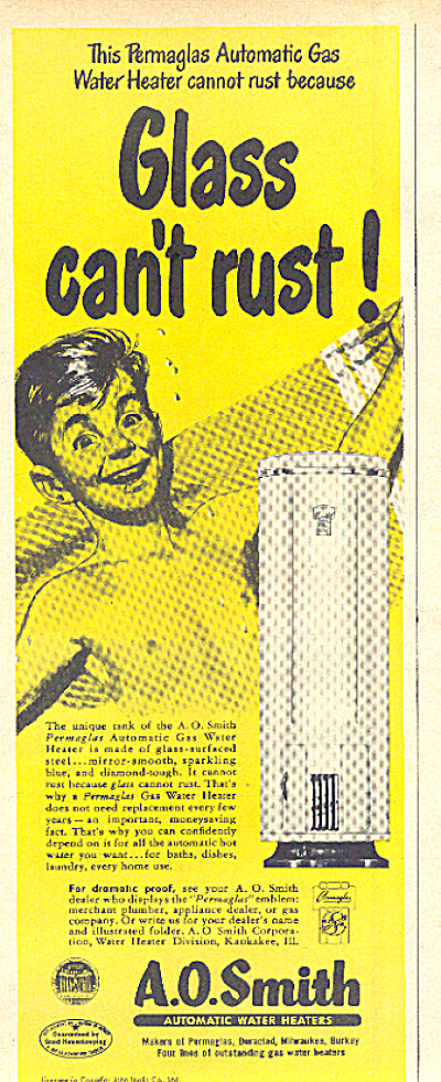 1950 A. O. Smith Water Heater Nude  Boy Ad (Image1)