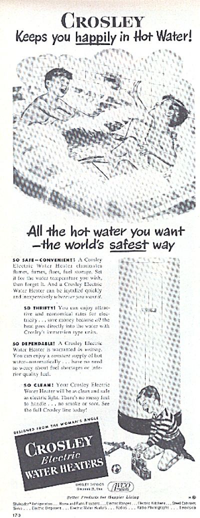 1950 Crosley Water Heater Boys In BathTub Ad (Image1)