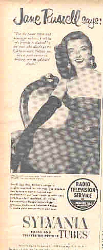 1952 Jane Russell Sylvania Radio/TV Tubes Ad (Image1)