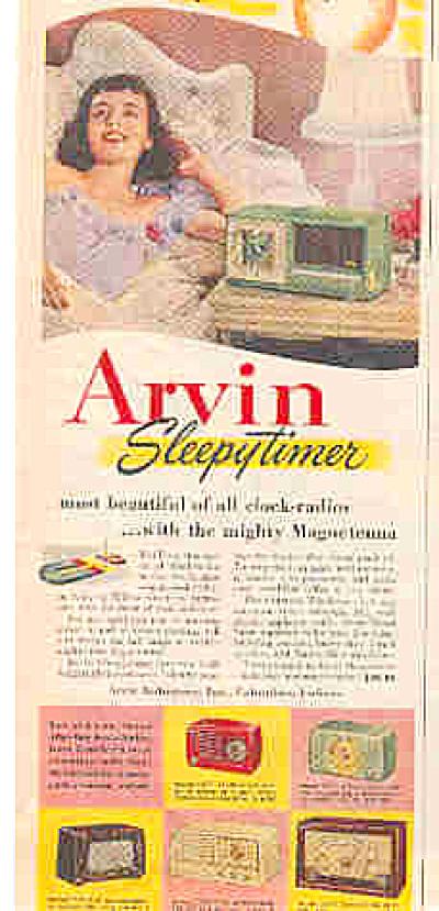 1952 Arvin Sleepytimer Magnetenna Radio Ad (Image1)