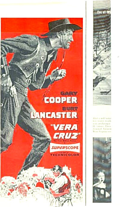 1955 Garry Cooper Vera Cruz Movie Ad