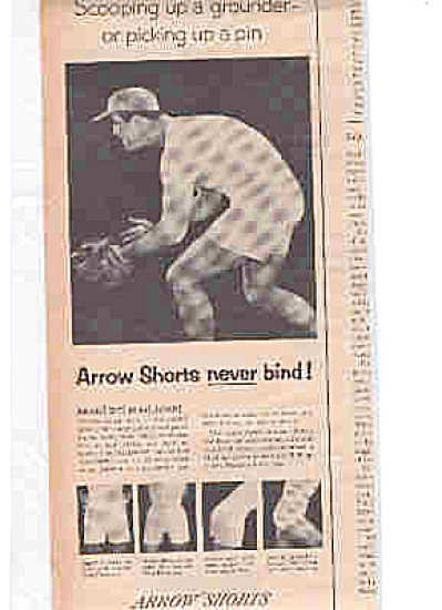 1953 Arrow Shorts Baseball Man  Underwear Ad (Image1)