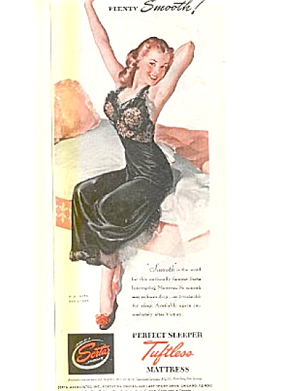 1944 Serta Mattress ad Pin Up art Sexy Lady (Image1)