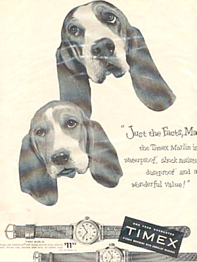 1954 Timex Watches Hounddog Ad