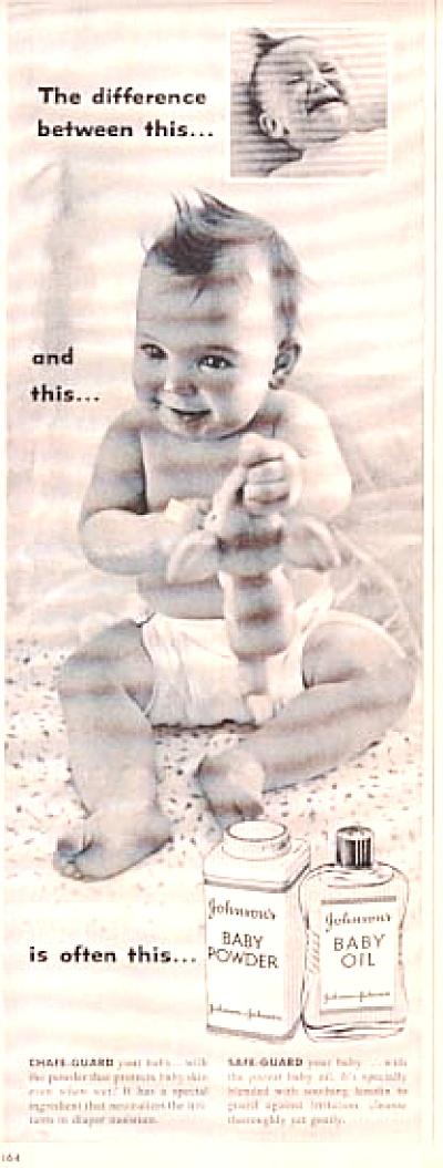 1957 Johnson's Baby Powder Baby In Diaper Ad