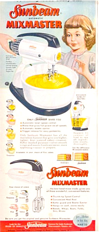 1957 Sunbeam Mixmaster Mixer 5 COLORS Ad (Image1)