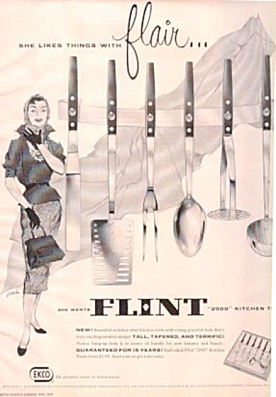 1957 Flint CUTLERY Kitchen Utensil Tools AD (Image1)