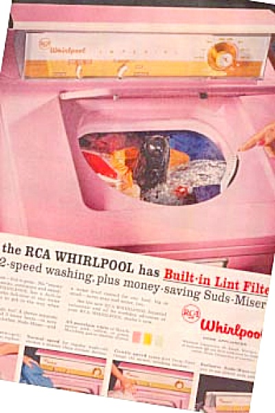 1957 Retro Pink Whirlpool Washer Ad