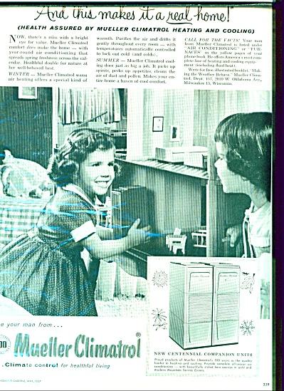 1957 Mueller Climatrol B&W Little Girl Ad (Image1)