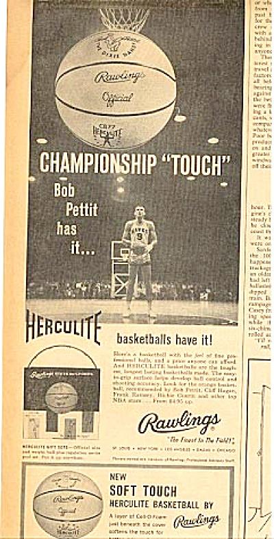 1960 Rawlings Basketball BOB PETTIT Ad (Image1)