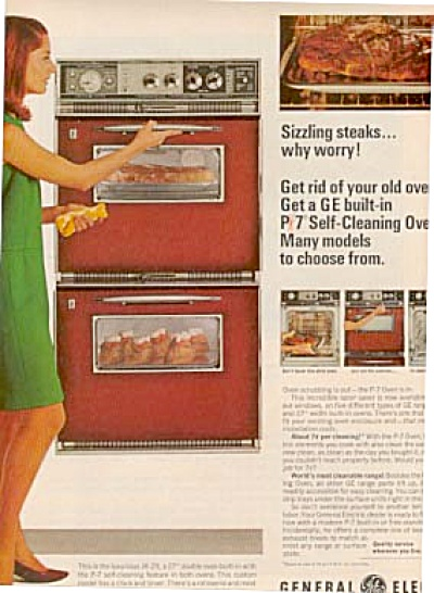 1957 General Electric Stove & Beautiful Woman