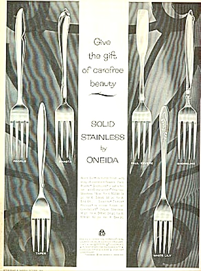 1960 Oneida Solid Stainless Dinnerware Ad