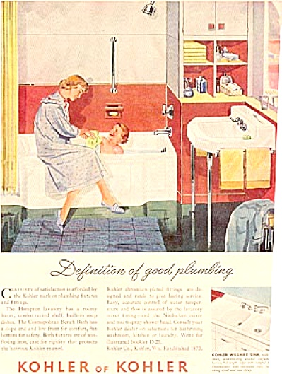 1952 KOHLER Woman & Boy Bathtub Ad (Image1)