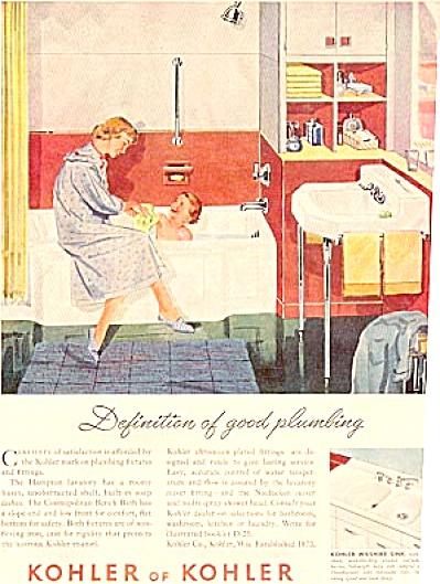 1952 KOHLER Woman & Boy Bathtub Ad (Image1)