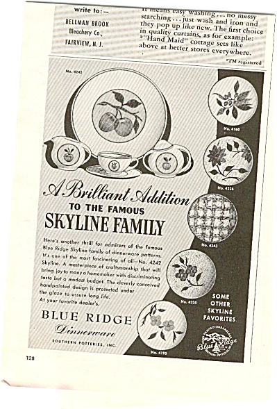 1952 Blue Ridge Dinnerware Ad (Image1)