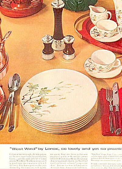 1956  Lenox China West Wind Dinnerware Ad (Image1)
