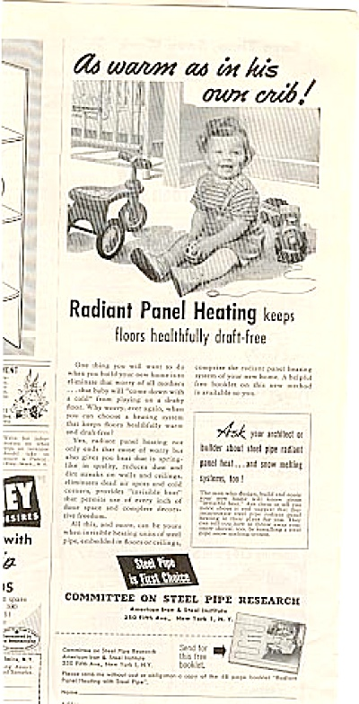 1952 Baby Boy Vintage Toys Panel Heating Ad