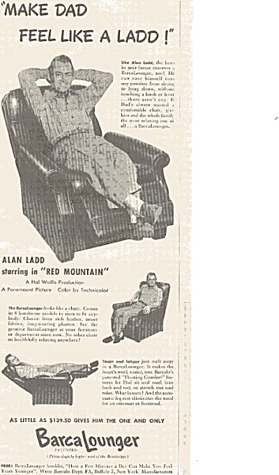 1956 Barca Lounger Alan Ladd Lounger Ad