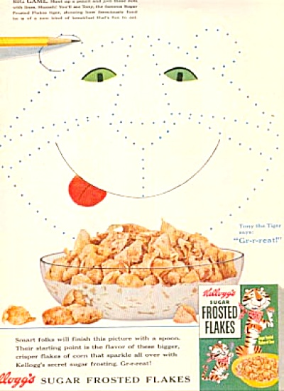 1954 Tony Tiger Frosted Flakes Kellogg's Ad