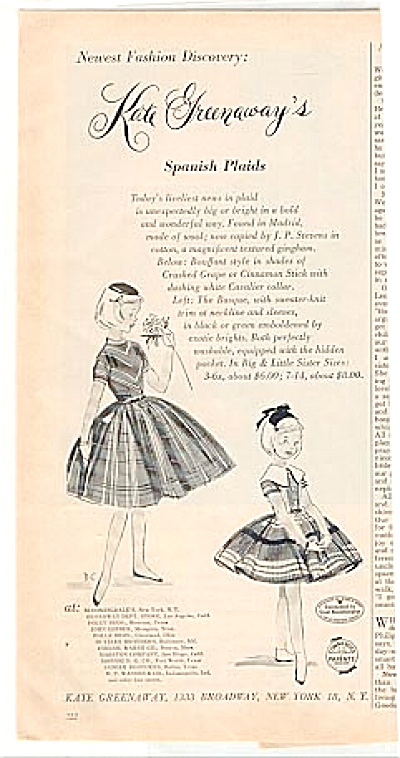 1957 Kate Greenaway's Spanish Plaid Ad (Image1)