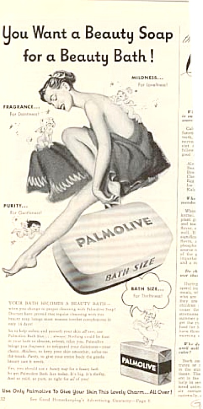 1951 Palmolive Nude Woman In Towel Ad Randall