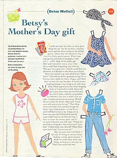Betsy McCall Mother's Day Gift Paper Doll (Image1)