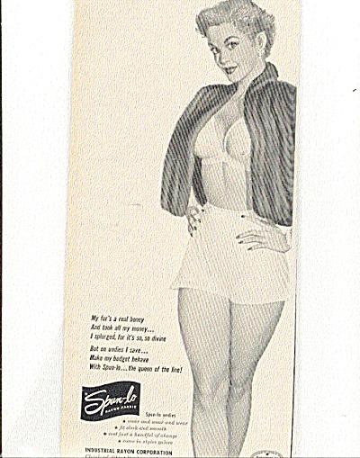 1951 SPUN LO Bra Underwear FUR Coat ad (Image1)
