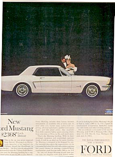 1964 White Ford Mustang Woman & Man Ad (Image1)