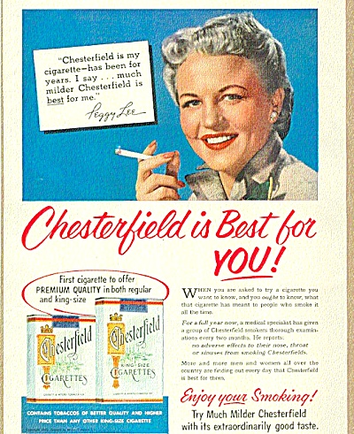 1953 Chesterfield Cigarette Peggy Lee Ad (Image1)