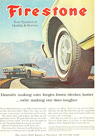 1965 Firestone Tire COOL CAR Sleeker Ad (Image1)