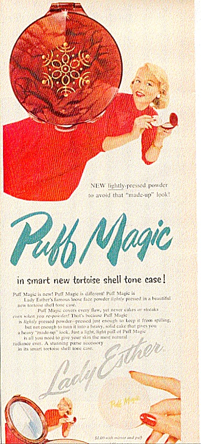 1956 Lady Ester Puff Magic Tortoise Shell Ad