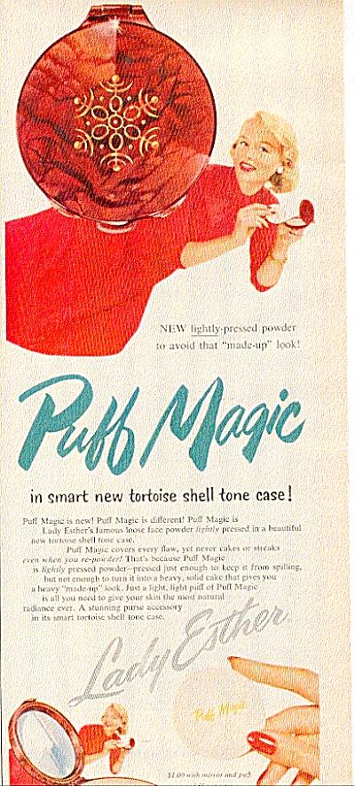 1956 Lady Ester Puff Magic TORTOISE SHELL Ad (Image1)