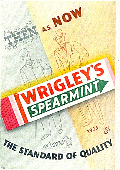 1935 Wrigley's Spearmint GUM Then & Now Ad (Image1)