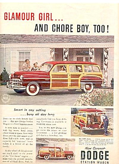 1949 Coronet Dodge Station Wagon Ad GLAMOUR (Image1)