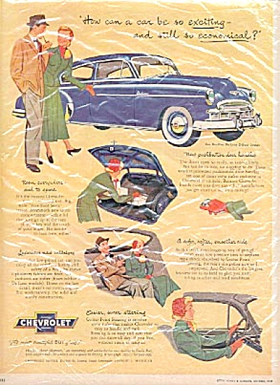 1949 Chevrolet Man - Woman FLEETLINE CAR Ad (Image1)