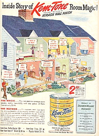 1946 Kem-Tone Oil Paint Beautiful House Ad (Image1)