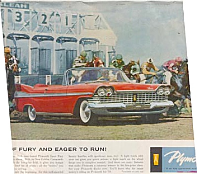 1959 Horse Racing Plymouth FURY Car Ad (Image1)