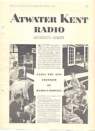 1929 Atwater Kent Radio Ad Screen-grid