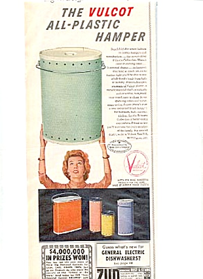 1956 Vulcot Plastic Hamper Ad Retro Colors (Image1)