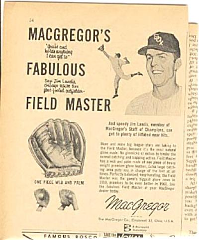 1960 Macgregor Glove Jim Landis White Sox Ad (Image1)
