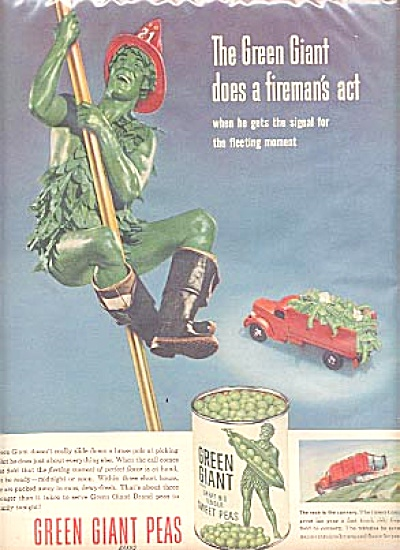 1953 Jolly Green Giant Fireman Fleeting Ad