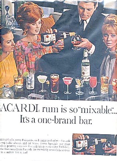 1967 Bacardi Rum Bar Lovely Women Ad (Image1)