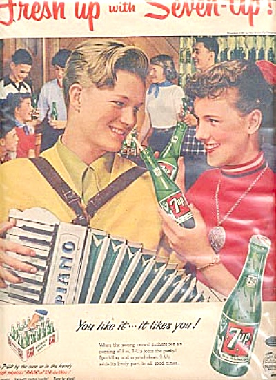 1953 Seven-Up Boy Girl Acordian Piano Ad (Image1)