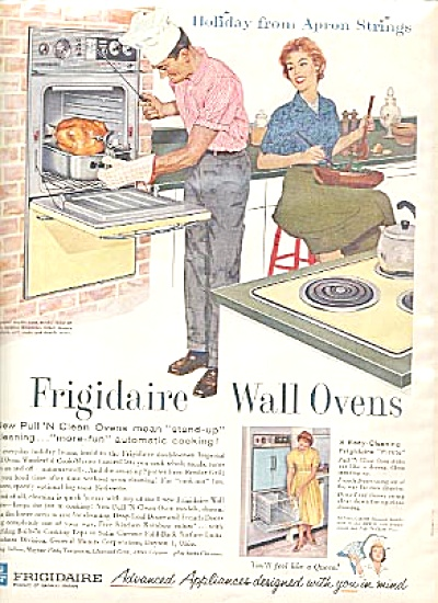 1960 Frigidaire Wall Oven Man Cooking Ad (Image1)