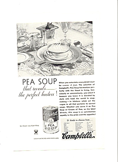 1934 Vintage Campbell's Pea Soup Ad