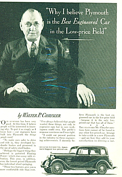 1934 Walter  Chrysler Plymouth DELUXE Car Ad (Image1)