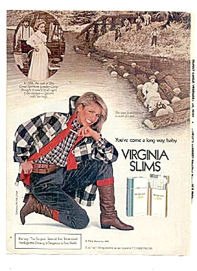 1985 Virginia Slims Now & Then AD WOMAN LOGGER (Image1)