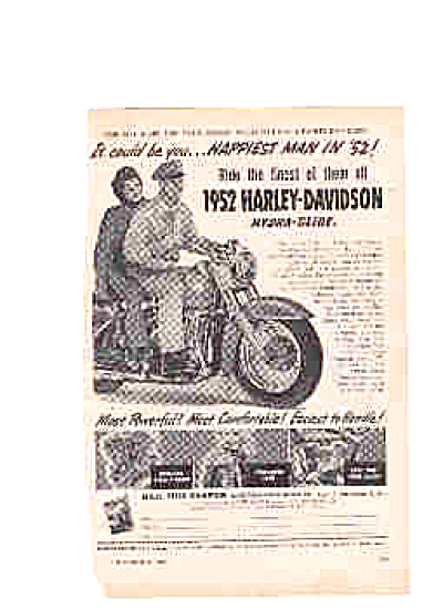 1952 Harley Davidson Cycle Happiest Man Ad (Image1)